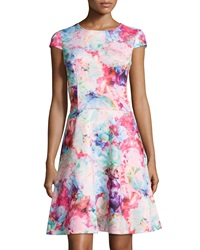 Chetta B Floral Print Fit And Flare Cap Sleeve Dress Cotton Candy