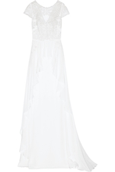 Temperley London Bluebell Silk And Embroidered Lace Gown