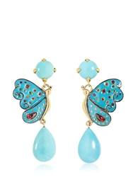 Sylvie Corbelin Paris Blue Butterfly Earrings Blue Gold