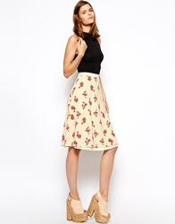 Ax Paris Midi Swing Skirt In Floral Print Cream