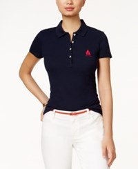Tommy Hilfiger Embroidered Anchor Polo Top Navy Pink