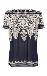Naeem Khan Threadwork Peasant Blouse Navy