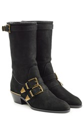 Chloe Leather Buckle Front Ankle Boots Black