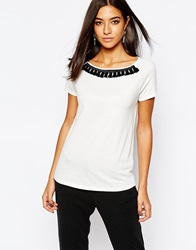 Sisley Shortsleeve T Shirt With Black Fringe Detail Offwhite
