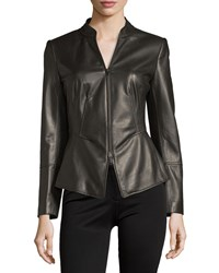 Lafayette 148 New York Macie Zip Front Leather Jacket Espresso Brown