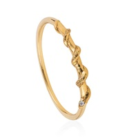 Lee Renee Tiny Snake Ring Diamonds And Gold Vermeil Nude Neutrals Gold