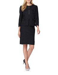 Tahari By Arthur S. Levine Bow Accent Boucle Skirt Suit Black