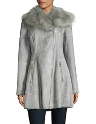 Catherine Malandrino Faux Fur Accented Flared Suede Coat Dove Grey