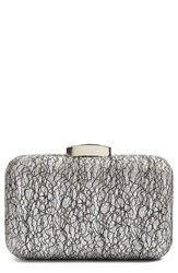 Glint Abstract Lace Clutch Metallic Silver