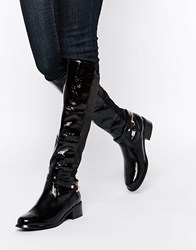 River Island Patent Knee High Flat Boot Black