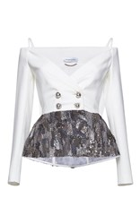 Zuhair Murad Off Shoulder Cady Jacket With Embroidery White