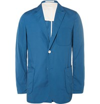 Beams Plus Slim Fit Unstructured Cotton Blazer Blue