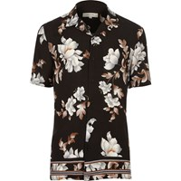 River Island Mens Black Floral Print Short Sleeve Shirt