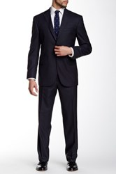 David Donahue Ryan Solid Two Button Notch Lapel Classic Fit Wool Suit Blue