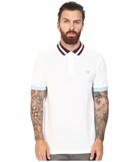 Fred Perry Bomber Stripe Collar Pique Shirt White Men's Clothing