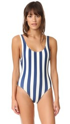 Solid And Striped The Anne Marie One Piece Navy Cream Stripe