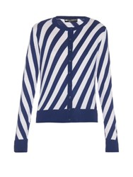 Dolce And Gabbana Diagonal Striped Cardigan Navy White