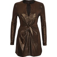 River Island Womens Gold Metallic Knot Front Bodycon Top