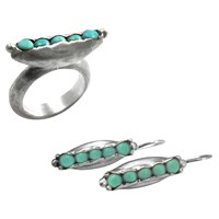 Chen Fuchs Jewelry Turquoise Pea Pod Ring And Earrings Set Silver