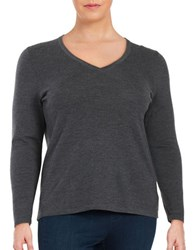 Lord And Taylor Plus Merino Wool V Neck Sweater Graphite Heather