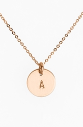 Nashelle 14K Rose Gold Fill Initial Mini Disc Necklace 14K Rose Gold Fill A