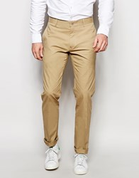 Vito Super Skinny Cotton Suit Trousers Beige