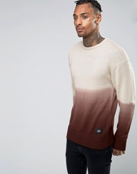 Sixth June Dip Dye Jumper With Dropped Shoulder Brown