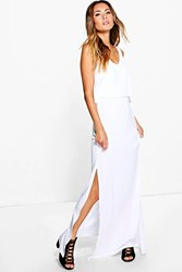 Boohoo Double Layer Maxi Dress With Side Split White