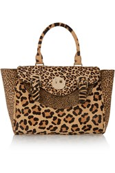 Hill And Friends Happy Satchel Leopard Print Calf Hair Tote