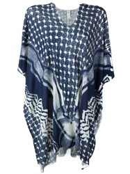Lala Berlin Fine Knit Printed Poncho Blue