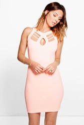 Boohoo Cut Out Detail Bodycon Dress Coral