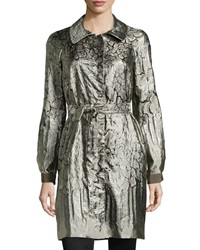 Philosophy Di Alberta Ferretti Metallic Jacquard Long Overcoat Gray Multi