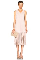 Theperfext Lucy Sleeveless Fringe Shift Dress In Pink