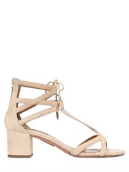 Aquazzura 50Mm Beverly Hills Suede Lace Up Sandals