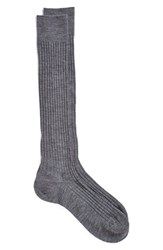 Men's Pantherella Merino Wool Blend Over The Knee Socks Grey