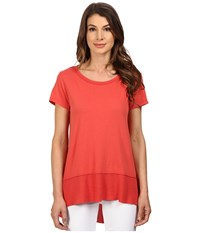 Dylan By True Grit Soft Vintage Knit Short Sleeve Waffle Hem Tee Washed Red Women's Short Sleeve Pullover