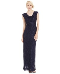 Connected Sequined Lace Cowl Neck Gown