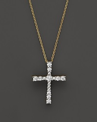 Bloomingdale's Diamond Cross Pendant Necklace In 14K Yellow Gold .50 Ct. T.W.