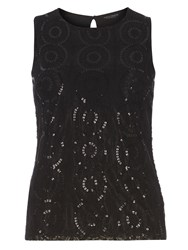 Dorothy Perkins Lace Sequin Shell Top Black