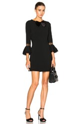 Saint Laurent Sable Bell Sleeve Dress With Bow In Black