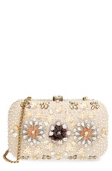 Natasha Couture Bead And Crystal Floral Clutch Beige Multi