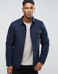 Esprit Wool Shirt Jacket With Quilted Lining And Flecked Pocket Navy 400