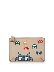 Anya Hindmarch Space Invaders Leather Purse Grey Multi