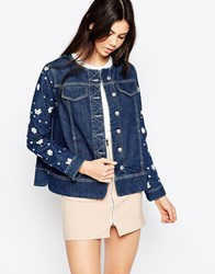 See By Chloe Denim Jacket With Floral Applique Blue