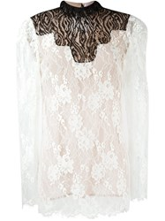 Lanvin Lace Sheer Top Nude And Neutrals