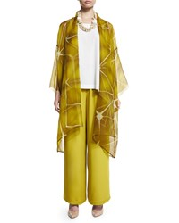 Eskandar Open Front Sheer Long Jacket Dark Olive Oil Olive Oil Dark