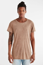 Feathers Mineral Wash Open Neck Long Tee Brown