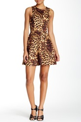 Necessary Objects Animal Print Scuba Fit And Flare Dress Juniors Brown