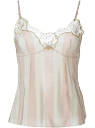 Rosamosario Lace Application Striped Camisole Nude And Neutrals