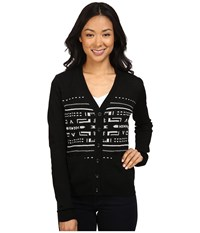 Pendleton Petite Christa Cardigan Black Vanilla Women's Sweater